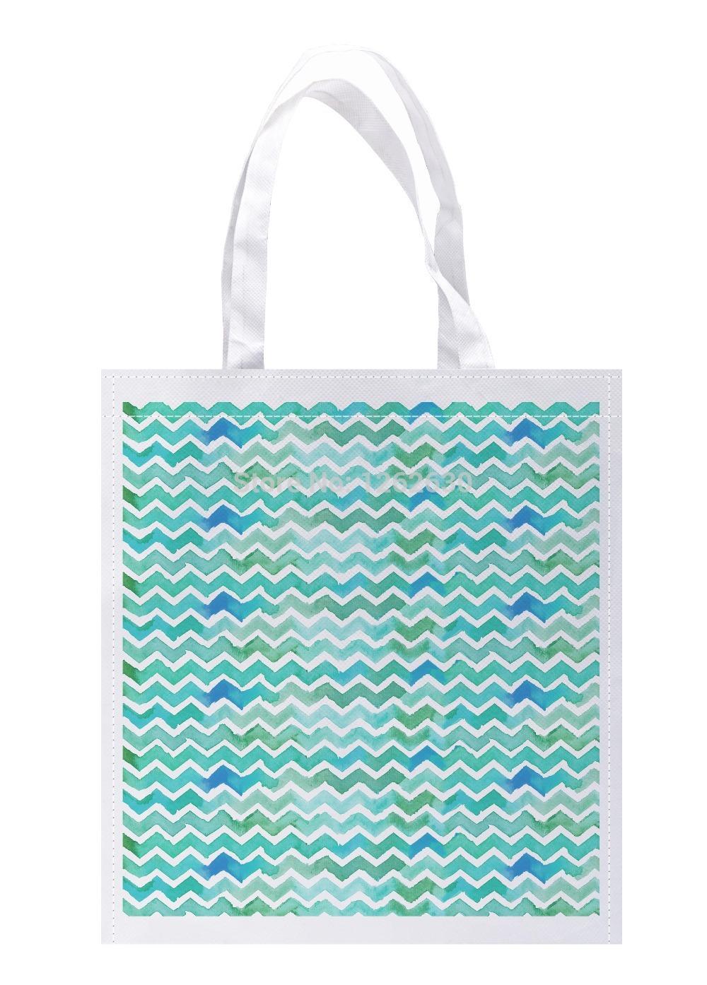 Green Geometry Watercolor Chevron Pattern Print Custom individual lightweight polyester fabric Reusable Bag gift bag Pack of 4(China (Mainland))