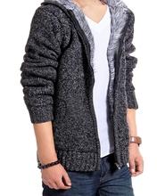 Warm Thick Velvet Cashmere Men Winter Cardigan zipper Tops stand Collar Man Casual Hoodies Sweatshirt Knitwear Big size(China (Mainland))