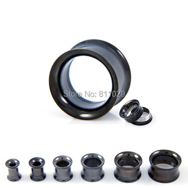 Hot wholesale body jewelry 300pcs mixed plated black ear tunnels Stainless Steel internally double flare Flesh Tunnel<br>