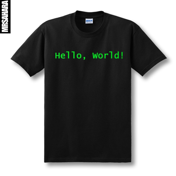 cool design print Programmer computer T-shirt hello world linux geek male short-sleeve men's shirt male basic top tee(China (Mainland))