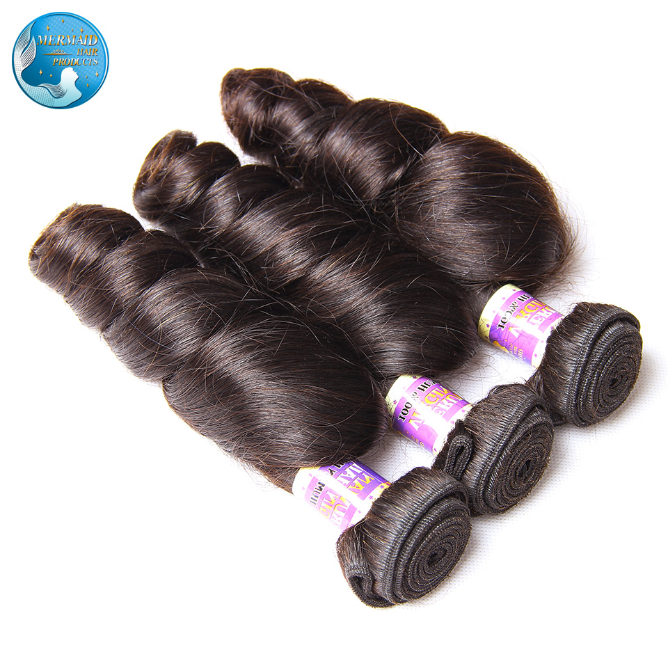 peruvian virgin loose wave nature black #1b 6A top grade virgin peruvian loose wave 4pcs lot no shedding no tangle hair weaving