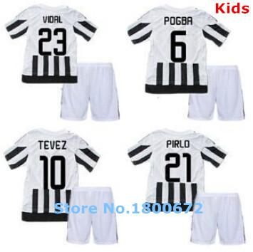 Youth & Kids 2015 16 Home Customize DIY Pirlo Pogba Morata Football Kit Uniform Teen Shirt Sports Outfit Boys Soccer Jersey Set(China (Mainland))