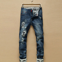 2016 New men jeans ripped embroidery Stylish hole straight jeans Cotton true religious jeans men clothing