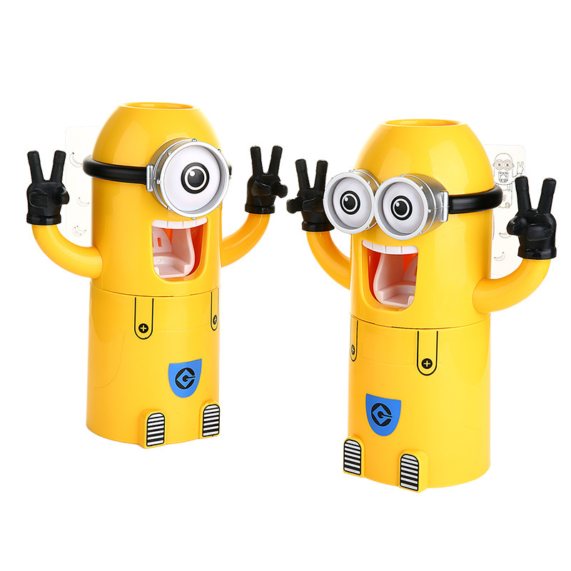 2016 Hot Sale Newest Minions Design Set Cartoon Yellow Toothbrush Holder Automatic Toothpaste Dispenser Brush Cup Kid's Gift(China (Mainland))