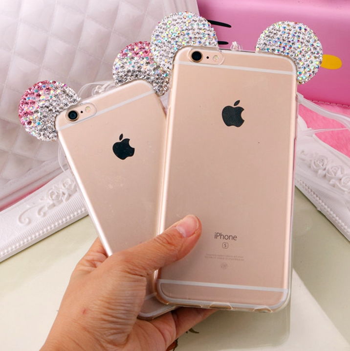 Hot Luxury 3D Diamond Glitter Mickey Minnie Mouse Ears Rhinestone Clear Phone Cases Cover For iPhone 7 7Plus 5G 5S 6 6G 6S 6Plus(China (Mainland))