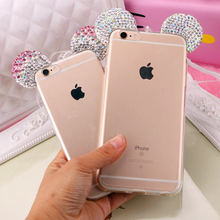 Hot Luxury 3D Diamond Glitter Mickey Minnie Mouse Ears Rhinestone Clear Phone Cases Cover iPhone 7 7Plus 5G 5S 6 6G 6S 6Plus - One Shop,One Dream Co., Ltd store