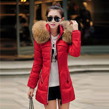 2015 new red winter jacket women full sleeve slim womens down jackets long winter jacket for