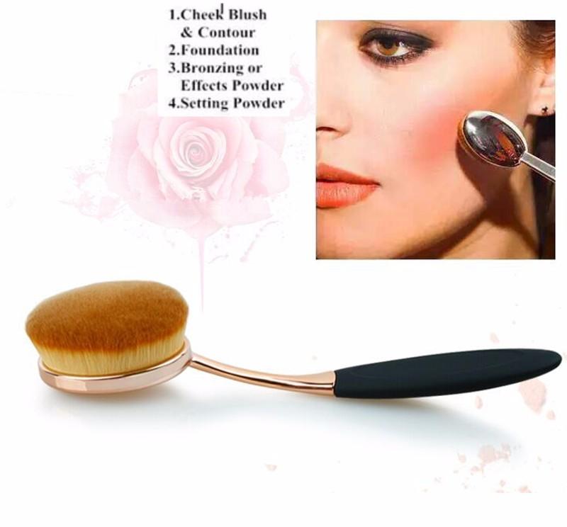 Toothbrush Shape Oval Makeup Brush Foundation Powder Eyebrow Make up Brushes Beauty Tools ROSE Gold black 5PCS/Set 10PCS/set