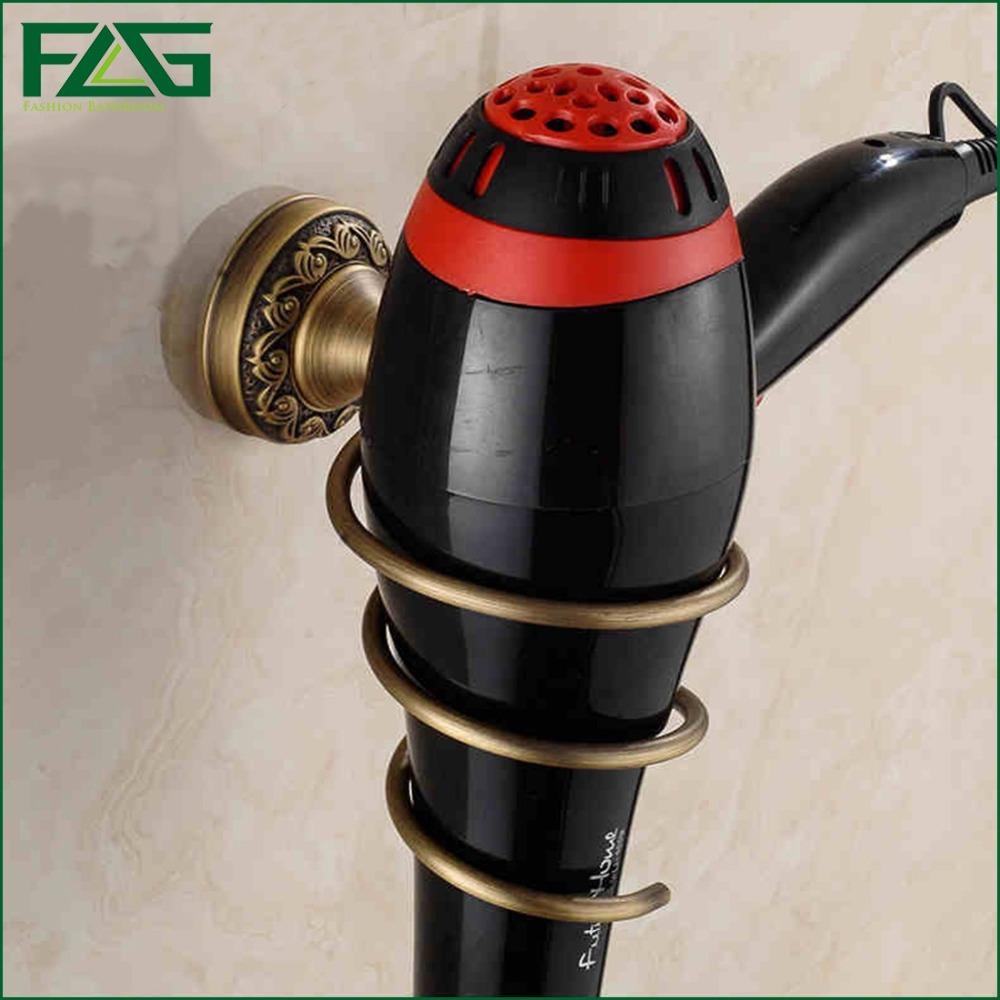 FLG 2016 Brass Bathroom Wall Shelf Wall-Mounted Hair Dryer Rack Storage Hairdryer Support Holder Spiral Stand On Sale Antique 05(China (Mainland))