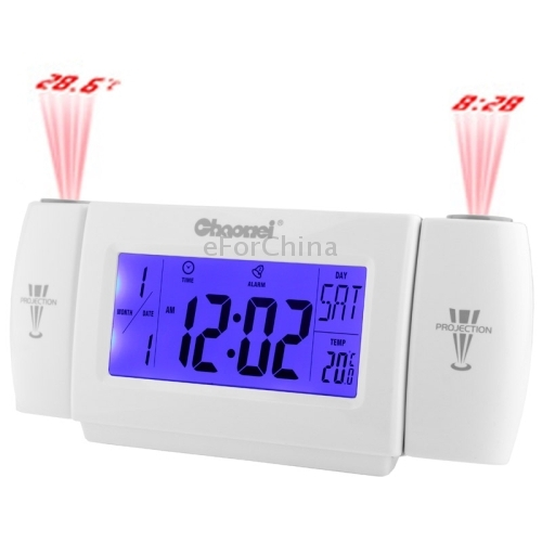 Sound Controlled Backlight LCD Display Projection Clock with Digital Calendar & Temperature, CW8373 (Grey)(China (Mainland))