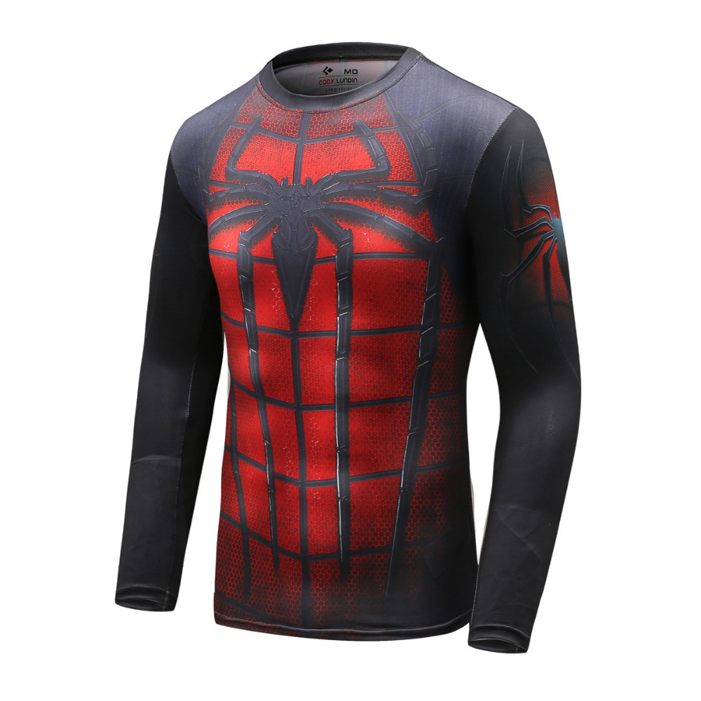 New people exercise compression stockings marvel superhero with long sleeve T-shirt men's fitness base layer Yew Clothing M-2XL(China (Mainland))