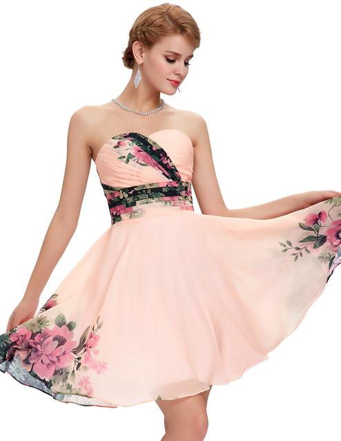 Грейс карин короткие коктейльные платья 2016 Большой размер летних цветов цветочный ...