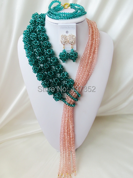 Fashion 2015 New Teal Green Peacock Peach Crystal Ball Costume Necklaces Nigerian Wedding African Beads Jewelry Set NC1236<br><br>Aliexpress