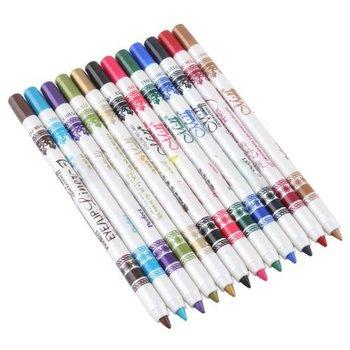 12 Color Plastic Glitter Eyeliner Lip Eyebrow Pen Pencil Cosmetic Makeup Set