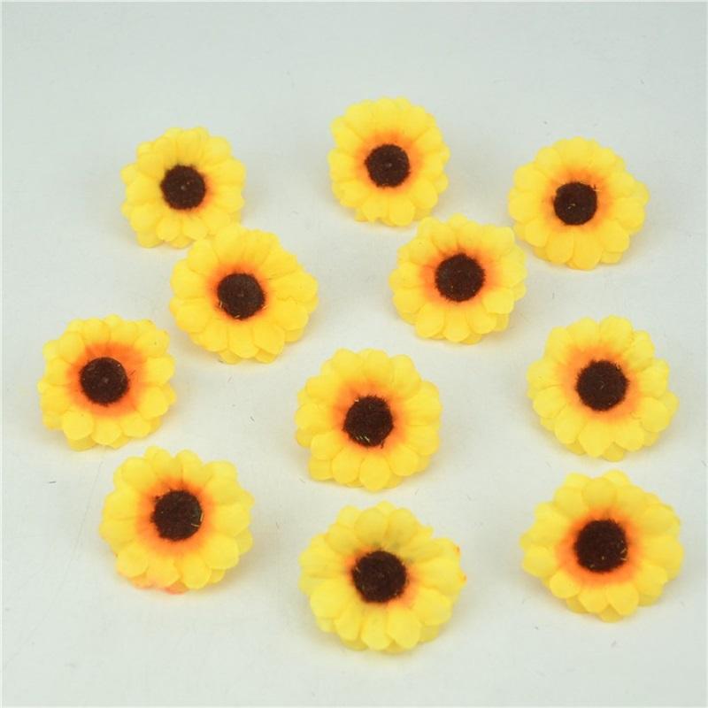 10pcs 4cm Mini Silk Sunflower Artificial Flower Head For Wedding Box Decoration Headmade Scrapbooking Accessories Fake flowers(China (Mainland))