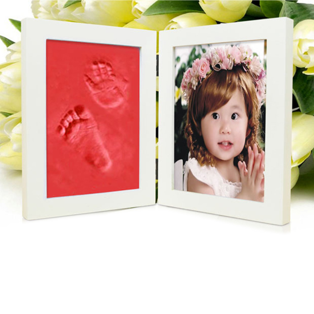 Red Wooden Baby hand and Foot Prints Clay photo frames for picture Infant Baby Inkpad Hand Mould caixa moldura porta retrato(China (Mainland))