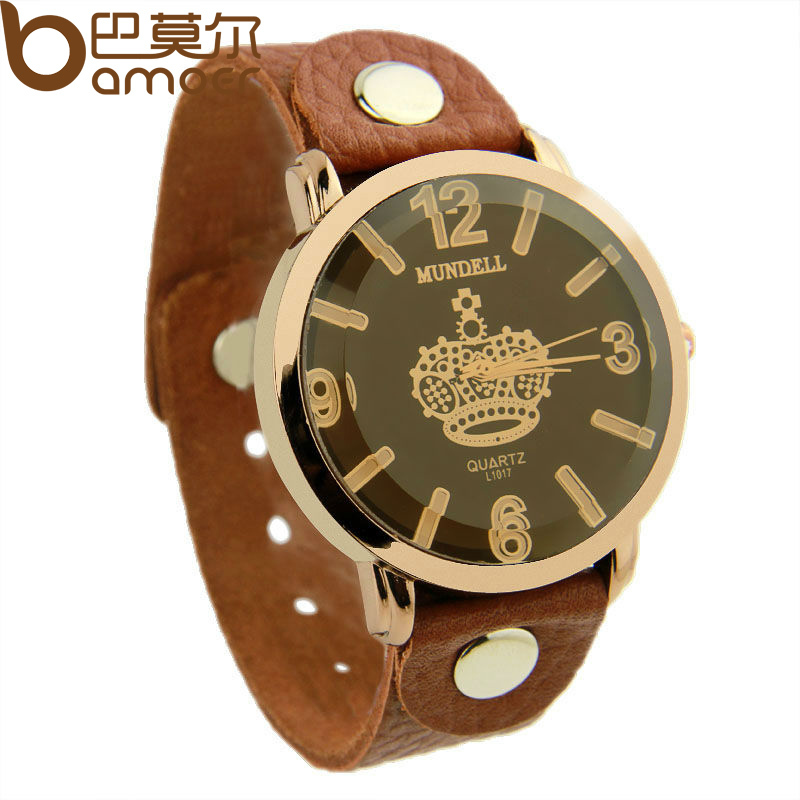 Alibaba Hot Sell Vintage Brown Leather Band Crown Watch for Women Quartz Top Layer Unisex Wristwatch PI0542(China (Mainland))