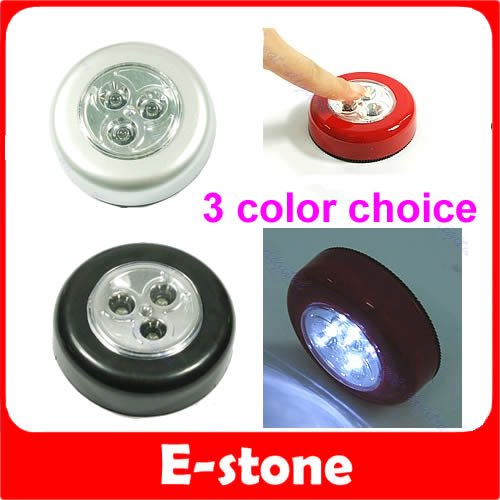 A81 2016 newest 10pcs/lot Round 3 LED Battery Powered Stick Tap Touch Light Click Lamp 3 COLORS CHOICE free shipping(China (Mainland))