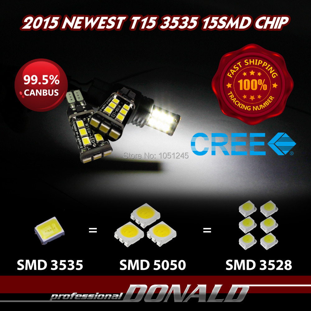 2x T15 W16W 921 LED CANBUS CREE 3535 Newest Chip 15SMD LED High Power Light Compatible with T10 W5W LED Bulb 800lm Bright White <br><br>Aliexpress