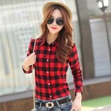 2015 New Casual Button Down Lapel Neck Plaids Checks Flannel Blouse Shirts Women Long Sleeve Tops Free Shipping(China (Mainland))