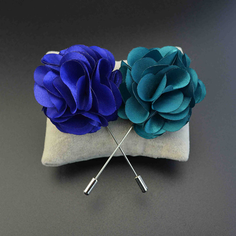 2015 Men's Brooches for Suits Satin Flower Lapel Pin 18 Colors Tuxedo Wedding Corsage for Men(China (Mainland))