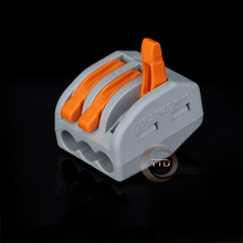 25PCS/lots WAGO 222-413 Universal Compact Wire Wiring Connectors 3 Pin conductor terminal block with lever(China (Mainland))