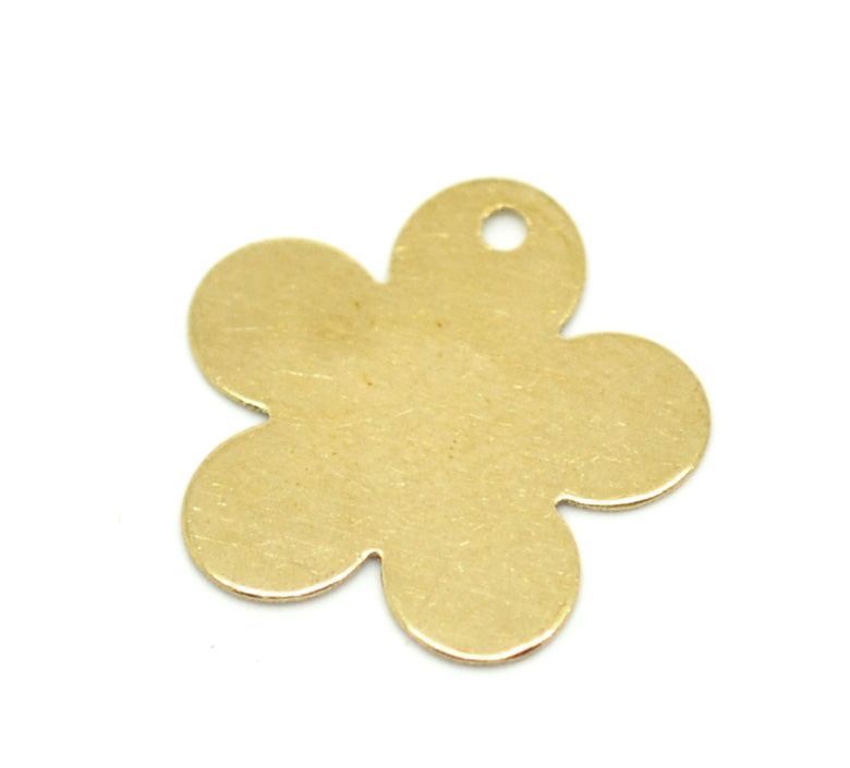 Brass Pendants Blank Stamping Tags Flower Gold 17.0mm( 5/8