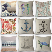 "Buy New Arrival pillow Sea sailing Patterns Home Decorative Cushion Throw Pillow 18"" Vintage Cotton Linen Square Pillows MYJ-B3 for $3.96 in AliExpress store"