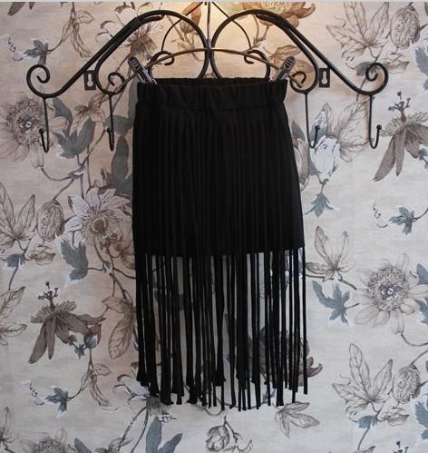 2015 Summer Girls Skirts Fashion Style Clothes Tassels faldas Black Kids 2-8 Years Old CSS-022 - Baby Children Paradise store