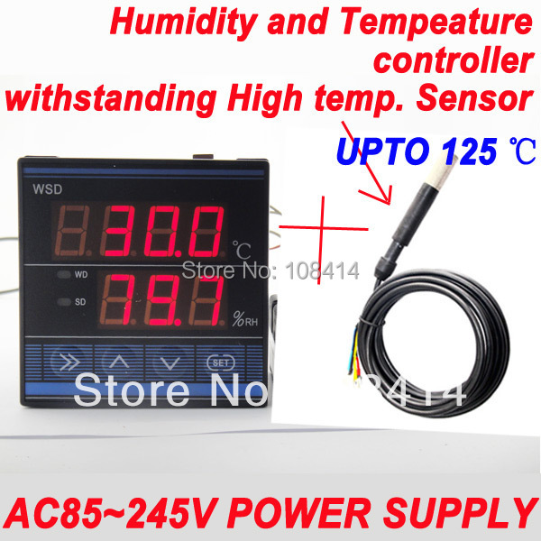 AC85~245VAC Power Supply Professional Digital temperature Humidity control controller with Withstanding High Temperature Sensor