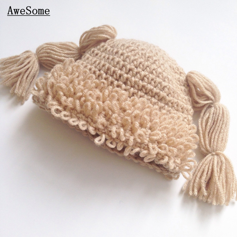 Novelty Cabbage Patch Hat Pattern,Handmade Knit Crochet Baby Girl Cartoon Winter Hat with Braids,Newborn Toddler Photo Prop(China (Mainland))