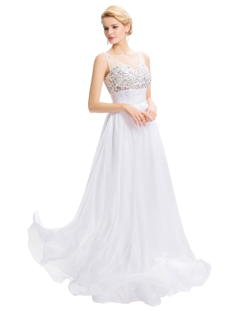Cheap Vestido De Festa Longo 2016 Elegant long evening dresses white blue V neck Beaded Robe De Soiree Longue Abendkleider(China (Mainland))