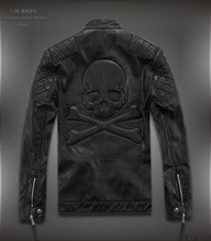 Autumn and winter male short design leather clothing stand collar trend skull punk leather jacket outerwear water washed leather(China (Mainland))