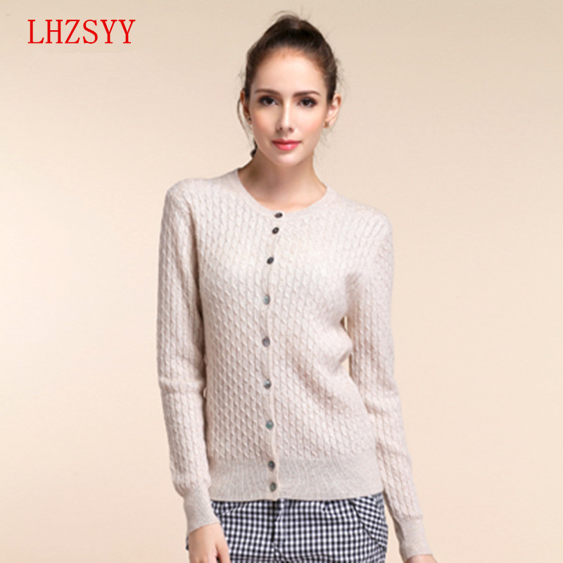 LHZSYY 2016 New Cashmere Sweater sweater Knit Cardigan Twist fitting Long sleeved Sweater Girl 11 color choices(China (Mainland))