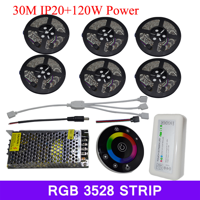 30m RGB LED strip light SMD 3528 DC 12V flexible light 60LED/m +18A UFO RF wireless touch controller +10A 12V Power Supply(China (Mainland))