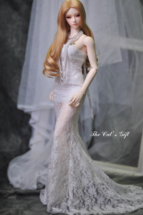 1 3 Bjd Doll Dress Wedding Dress Lace Fish Tail Clothing