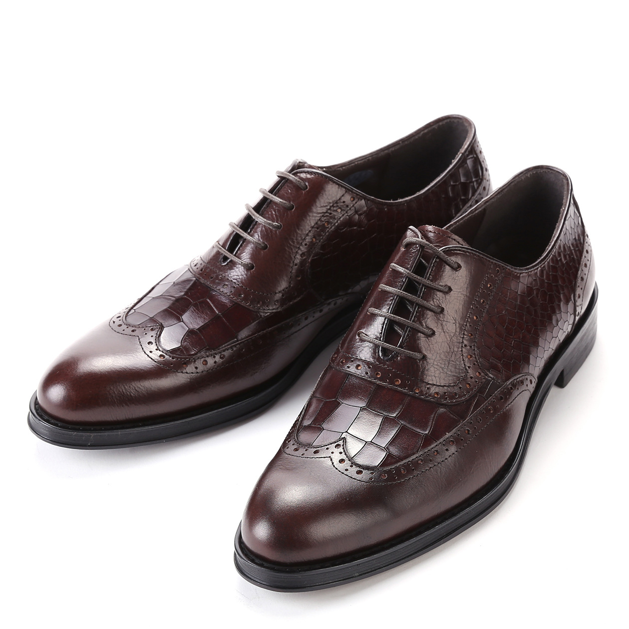 2015 New spring and autumn full grain embossed genuine leather top Luxury fashion Mens Pointed toe Dress Business oxfords shoes(China (Mainland))