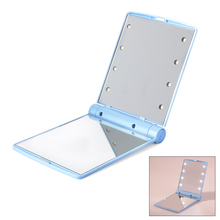 XCSOURCE Portable Folding 8 LED Lighted 1X 2X Magnification Travel Mirror Compact for Cosmetic Makeup (Blue) MT313(China (Mainland))