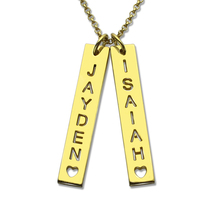 Gold Plated Vertical Bar Couple Necklace With Cut Out Name Personalized Bar Name Plate With Cut Out Letter  Valentine's Day Gift(China (Mainland))