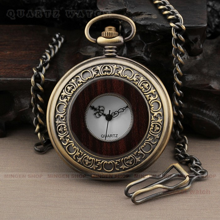 PQ079 Retro Wooden style Bronze Skeleton Men Quartz Necklace Pocket Watch + Chain<br><br>Aliexpress