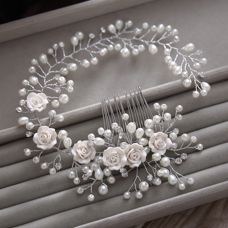 Gorgeous hair comb floral headband women pearl jewelry hairband soft chain hair ornaments bridal tiara wedding accessories yunyu(China (Mainland))
