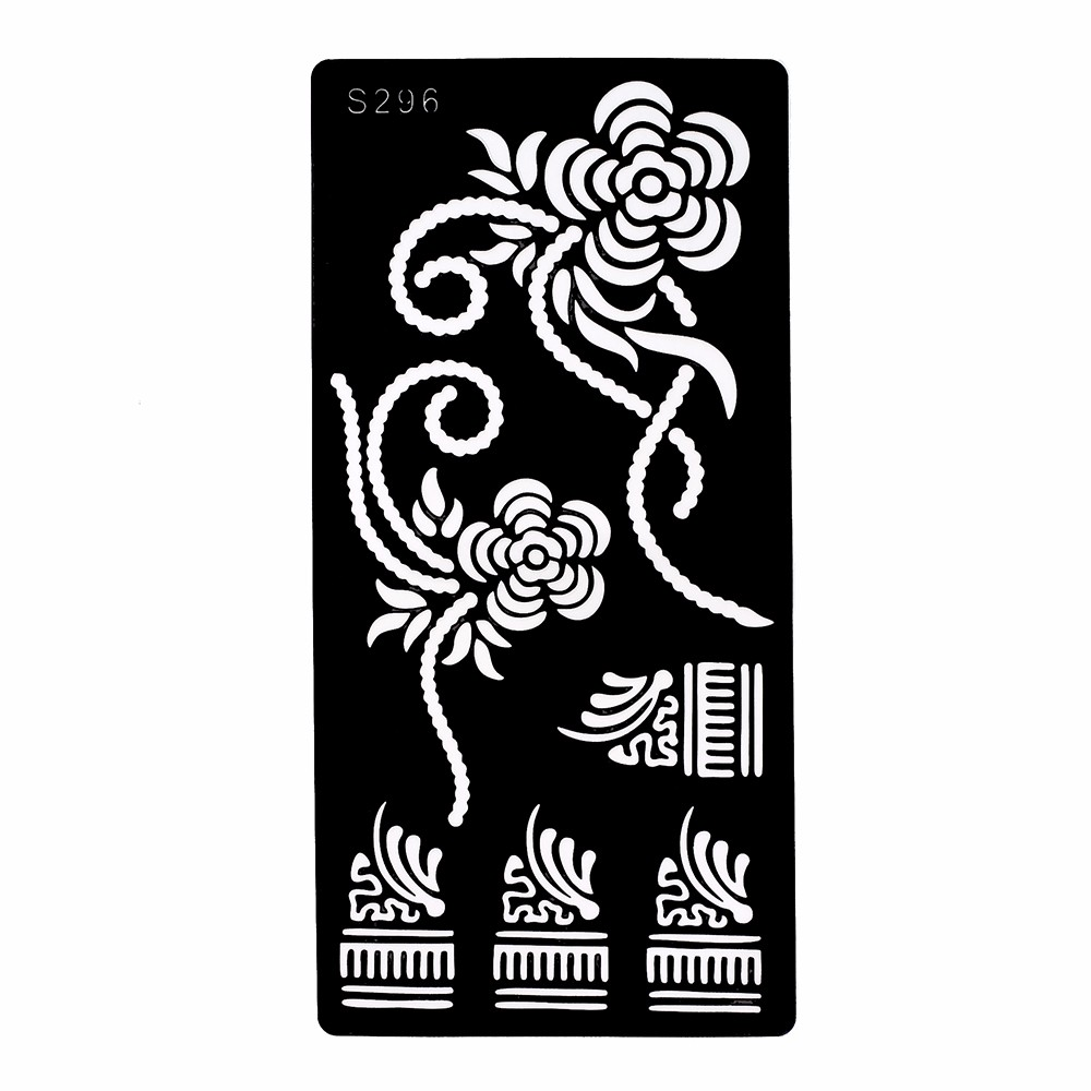 1 Piece Flower Pattern Henna Tattoo Stencil Henna Paste Drawing Sexy Lady Leg Art Airbrush Painting Tattoo Stencil Fashion S296