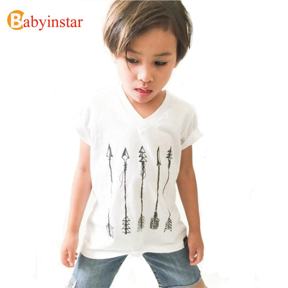 Fashion Kid's 2016 High Quality Short Sleeve White Arrow Print Children Clothes Kids Cotton Tops And Tees Boys T Shirt Hot Sale(China (Mainland))