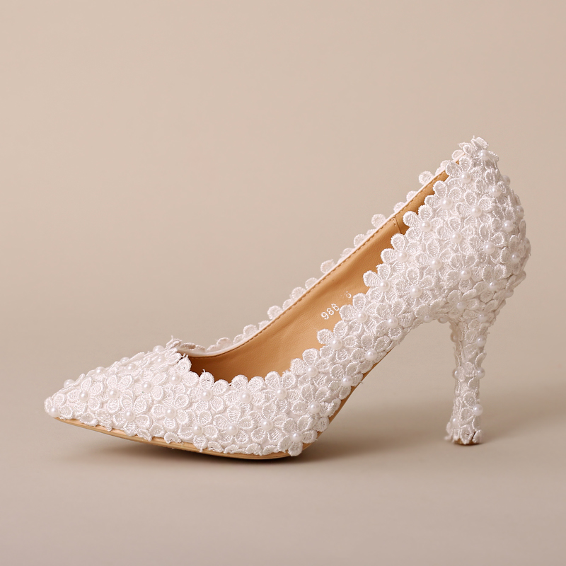 Aesthetic pearl flower bridal shoes ultra high heels thin heels formal dress shoes women's shoes white lace wedding shoes heels(China (Mainland))