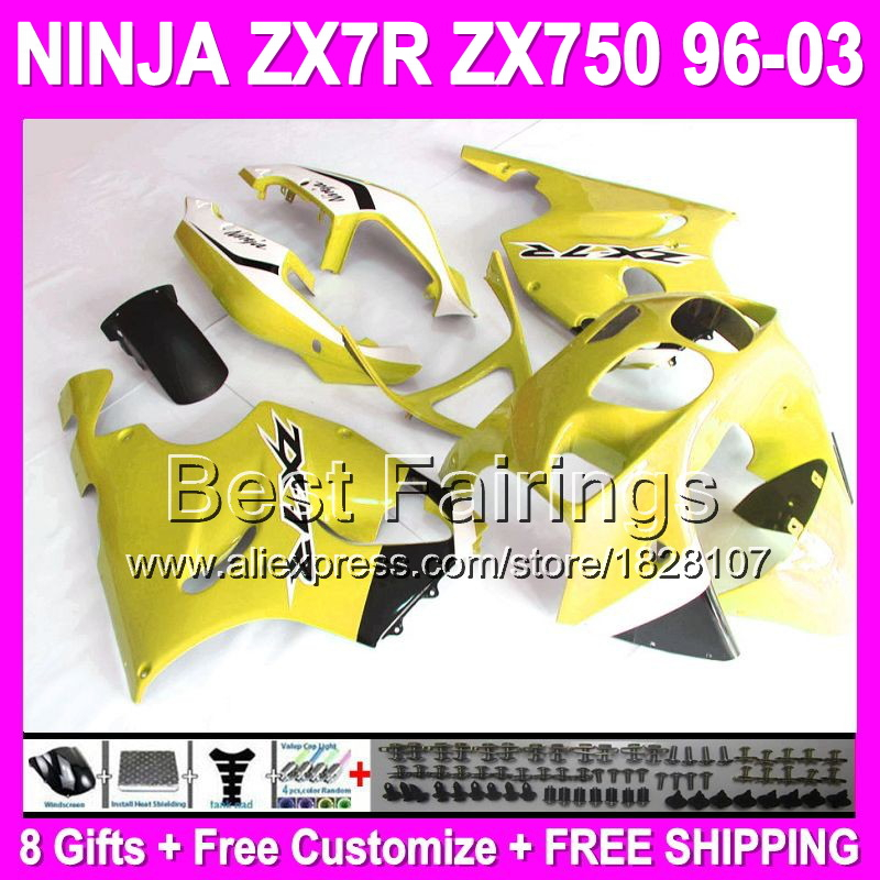 8gifts Foryellow KAWASAKI ZX7R C#1449 96 97 98 99 00 01 02 03 1996 1997 2003 ZX-7R ZX 7R NEW Yellow white black Full Fairings(China (Mainland))
