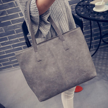 women bag 2016 fashion women leather handbag brief shoulder bags gray /black large capacity luxury handbags women bags designer