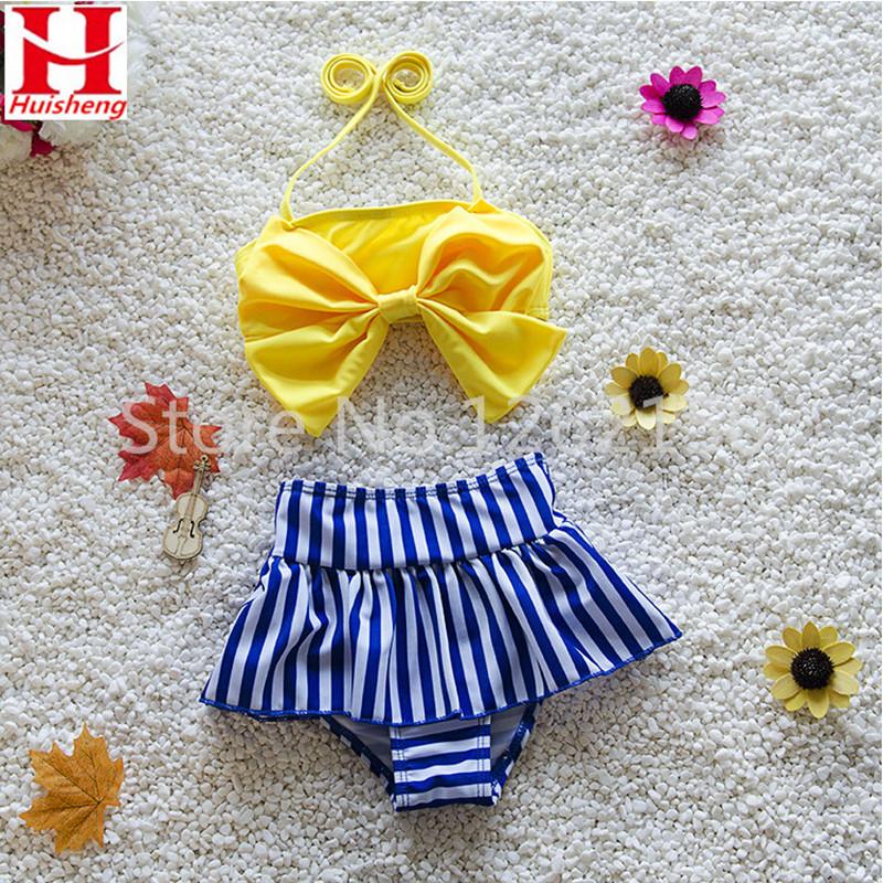 2016 New Baby Bow Striped Swimsuit Tankini Cute Swimwear Bathing Two Pieces Kids Girls Hot Beachwear Lovely Bikini Swimming Wear - The first station of outdoor sports store
