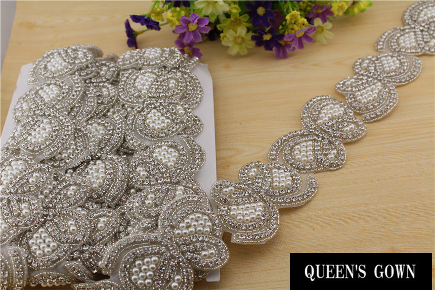 Aliexpress Buy 2015 Pearl Rhinest Trimming Chain For Wedding Dress Shiny Rhinestone