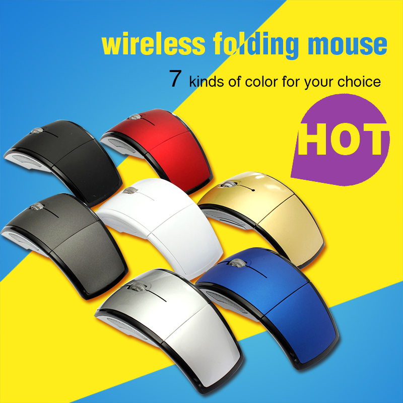 High Quality 2.4GHz Wireless Arc Foldable Folding Mouse/Mice + USB 2.0 Receiver for PC Laptop Travel Free Shipping(China (Mainland))