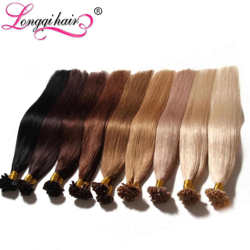 fusion u tip human hair extension colorful hair100%Brazilian virgin hair longqi natural keratin capsule u tip hair extension(China (Mainland))